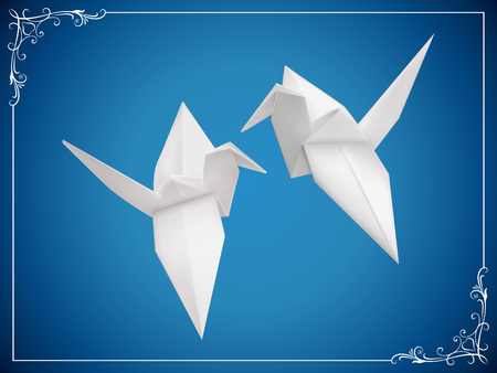 A couple of origami birds vector illustration.Saved in EPS 10 file with NO effects and transparencies. Gradient mesh is used, well layered and grouped. Hi-res jpeg file included 5000x3750.