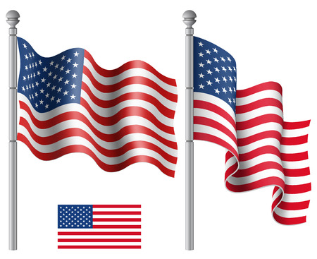 Set of American flags with the flagpole vector illustration.Saved in EPS 10 file with transparencies.Hi-res jpeg file included 5000x4000.