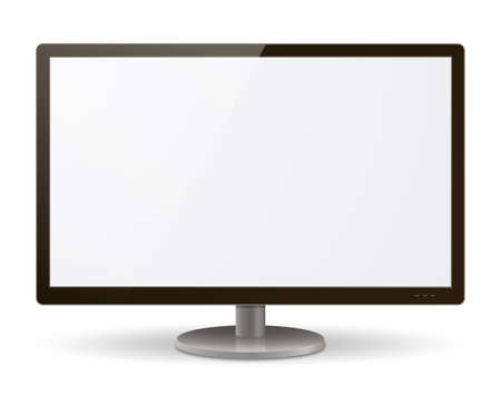 1 object: A realistic LCD  LED monitor vector illustration. Saved in EPS 10 file with transparencies and 1 object with drop shadow effect. Hi-res jpeg file included 5000x4000.