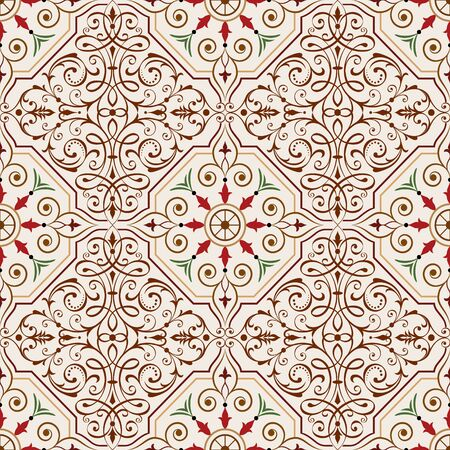 pattern antique: Seamless repeating pattern vector illustration. Saved in EPS 8 file. Well constructed for easy editing. Hi-res jpeg file included 4000x4000. Just drop this into your swatches palette AI then fill your shapes with it.