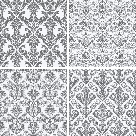 fully editable: Four Seamless repeating patterns vector illustration. Saved in EPS 8 file  fully editable. Just drop the pattern into your swatches palette AI then fill your shapes with it, seamlessness is guaranteed. High res jpg file included 5000x5000.