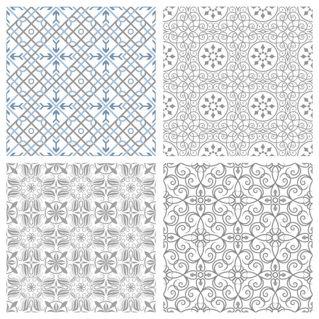 Four symmetrical seamless patterns vector illustration. Saved in EPS 8 file format, well constructed and easy to use. Just drop the pattern into your swatches palette AI, then fill your shapes with it. High res jpg file included 5000x5000. Çizim