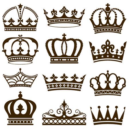 corona reina: Conjunto de coronas ilustración. Vectores