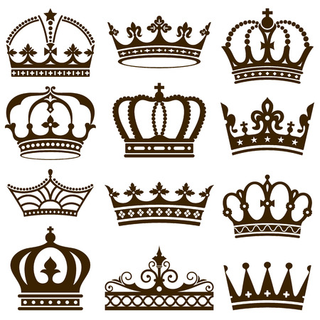 crown king: Set of crowns illustration.