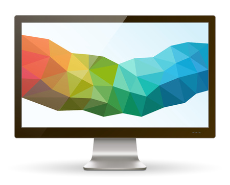 A realistic LCD  LED monitor with abstract background. Saved in EPS 10 file with transparencies and 1 object with drop shadow effect. Hi-res jpeg file included 5000x4000. Çizim