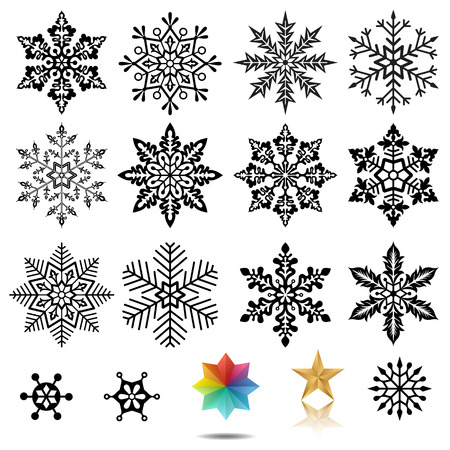Set of snowflakes vector illustration.  Vectores