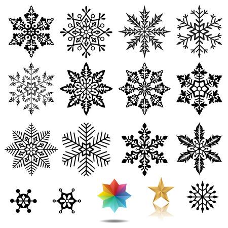Set of snowflakes vector illustration.  Illustration