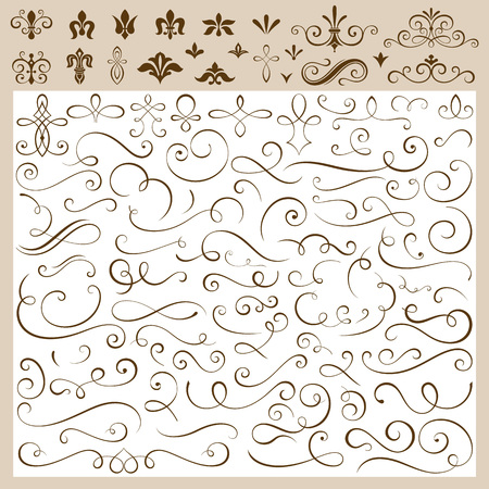 Set of calligraphic design elements vector illustration. 일러스트