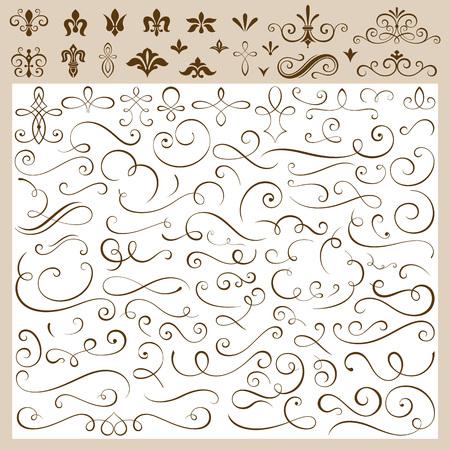 lineas decorativas: Conjunto de ilustración vectorial elementos de diseño caligráfico. Vectores