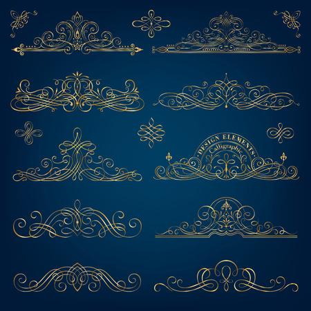 Calligraphic golden frames vector illustration.
