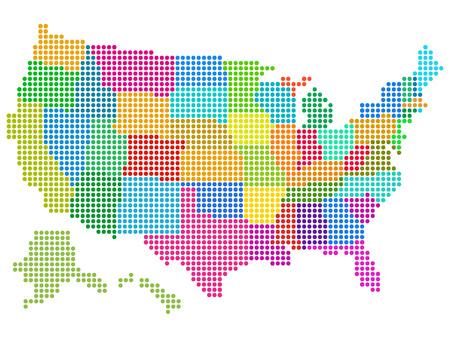 Mapa de la ilustración vectorial Estados Unidos con el tono medio multicolor Pattern.Saved en EPS 8 archivo. Todos los elementos relacionados se agrupan por separado. Bien construido para facilitar la edición. Alta resolución de archivo JPEG 5000 x 3745 incluido.