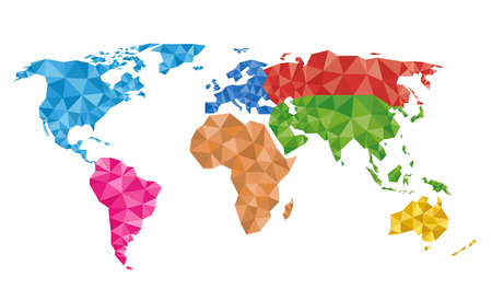 Multicolored geometric world map vector Illustration.