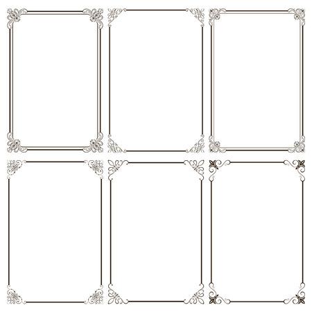 装飾的なフレーム ベクトル図のセットです。よく簡単に編集できる構成ファイルにすべての要素を分離すると、EPS 8 で保存されます。高解像度 jpeg