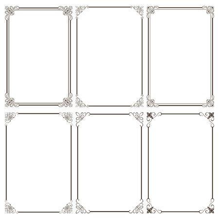 Set of decorative frames vector illustration. Saved in EPS 8 file with all elements are separated, well constructed  for easy editing. Hi-res jpeg file included 5000x5000. Ilustracja