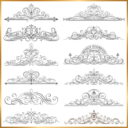Set of Calligraphic frames vector illustration. Saved with all separate elements. Well constructed  for easy editing. Hi-res jpeg file included 5000x5000.