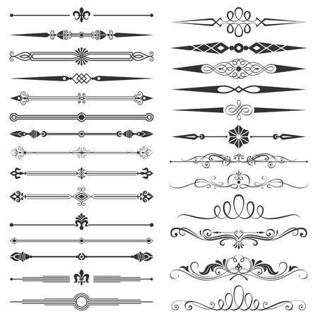 bordes decorativos: Conjunto de página de división y elementos de diseño de ilustración vectorial. Todos los elementos se separan, bien construida para facilitar la edición. Jpeg de alta resolución de 5000x5000 archivo incluido.