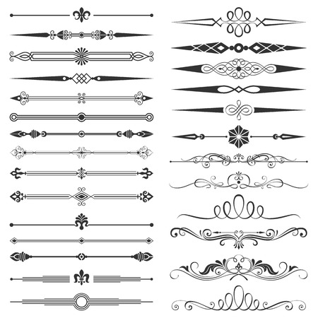calligraphic: Set of page divider and design elements vector illustration. All elements are separated, well constructed for easy editing. Hi-res jpeg file included 5000x5000.