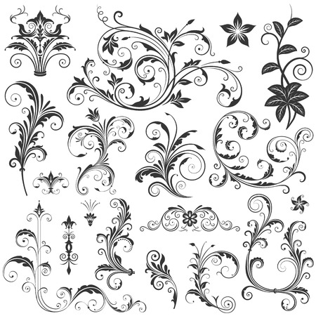 Various ornate scroll design elements vector illustration. Saved with all separated elements, very well designed for easy editing. High res jpg file included 5000x5000.