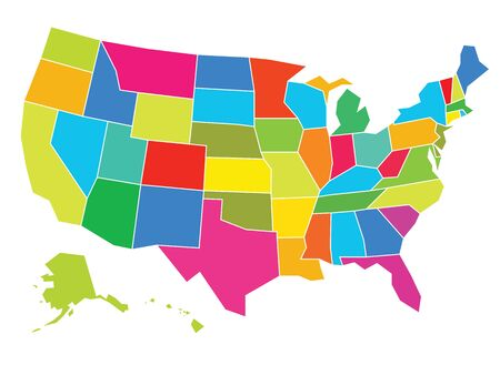 usa: Multicolored USA map vector illustration. Well constructed for easy editing. Hi-res jpeg file included 5000 x 3661.