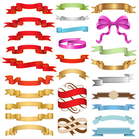 Set of Ribbons vector illustration.  with transparencies gift ribbon only. Well constructed for easy editing. No gradient mesh is used, just simple gradients. Hi-res jpeg file included 5000x5000. Vectores