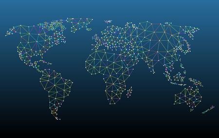 色とりどりの世界地図ネットワーク メッシュ ベクトル イラスト。 関連するすべての要素は、簡単に編集用別々 にまとめられます。高解像度の jpeg   イラスト・ベクター素材