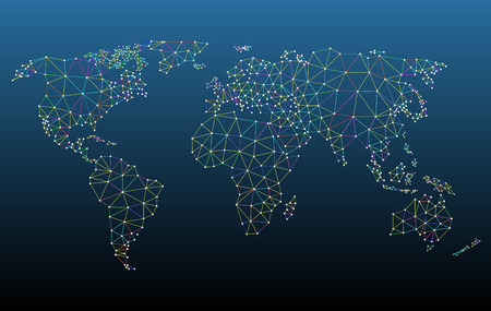 Multicolored world map network mesh vector illustration.  All related elements are grouped separately for easy editing. Hi-res jpeg file included 5500 x 3481. 矢量图像