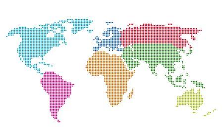 世界地図のベクター イラストをドットしました。EPS 8 ファイルに保存されます。関連するすべての要素を個別にグループ化されます。簡単に編集用  イラスト・ベクター素材