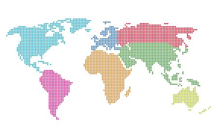 Dotted world map vector illustration. Saved in EPS 8 file. All related elements are grouped separately. Well constructed for easy editing. Hi-res jpeg file included 5000 x 3059. Ilustracja