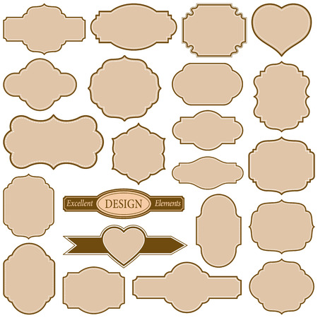 saved: Set of plain frames vector illustration. Saved in EPS 8 file. All related elements are grouped separately. Well constructed for easy editing. Includes a large jpeg file 5000x5000.