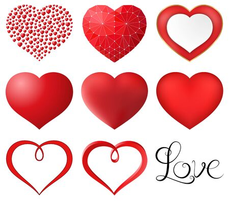 gradient mesh: Set of red hearts vector illustration. Saved in eps 10 file with 1 transparent object. Gradient mesh and simple gradient is used. Well constructed for easy editing. Hi-res jpeg file included 5000x4395.