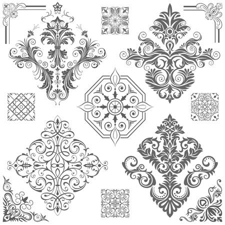 装飾的な花パターン ベクトル図のセットです。ファイルに保存されます。簡単に編集用に建設した井戸。高解像度 jpeg ファイルは、5000 × 5000 を含ま  イラスト・ベクター素材