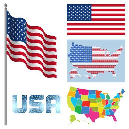 米国のフラグを設定し、マップの図。