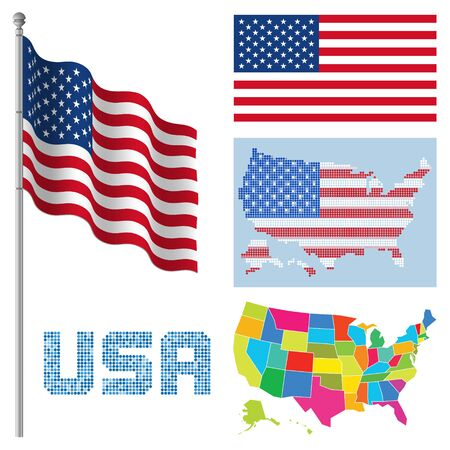 Set of USA flags and maps illustration.