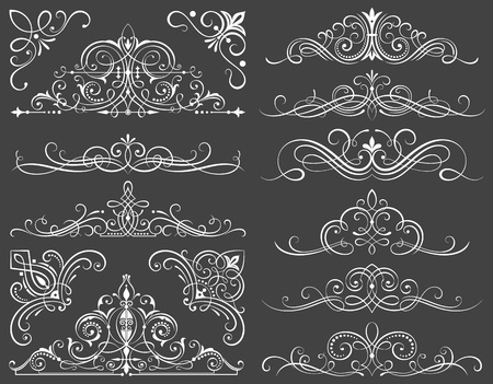 Set of calligraphic frames and scroll elements illustration. Vectores