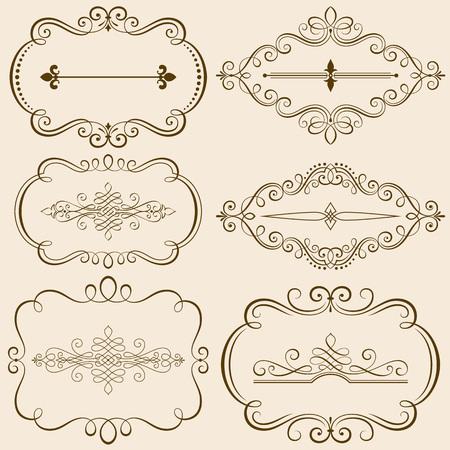 カリグラフィのフレームと華やかな要素図のセット。