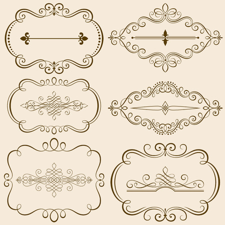 Set of calligraphic frames and ornate elements illustration.