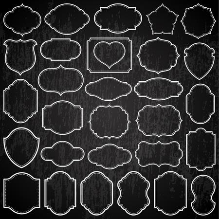 Set of simple frames and chalkboard illustration.