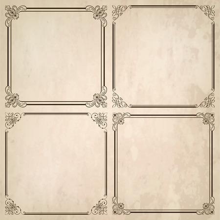 Set of decorative frames and old paper texture illustration.