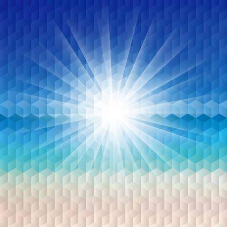 Sunrise on the beach illustration with geometric pattern