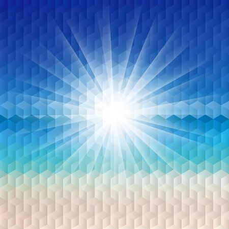 exploded: Sunrise on the beach illustration with geometric pattern