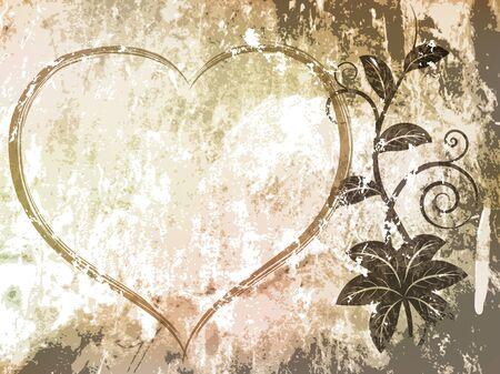 Floral grunge background illustration.