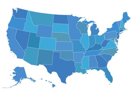 アメリカ地図のベクター イラストです。