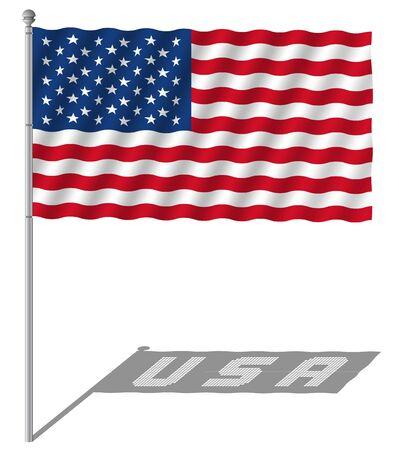 アメリカの国旗を旗竿のベクトル図と手を振ってします。  イラスト・ベクター素材