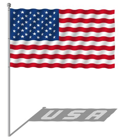 USA flag waving with the flagpole vector illustration. Illustration