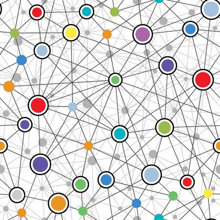 カラフルなネットワークのシームレスなパターン ベクトル イラスト。