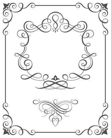 カリグラフィのフレームと華やかなスクロール要素はベクトル イラストです。