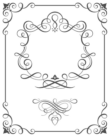 Calligraphic frame and ornate scroll elements vector illustration.