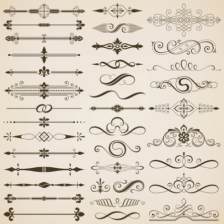 Set of page divider and design elements vector illustration. Vectores