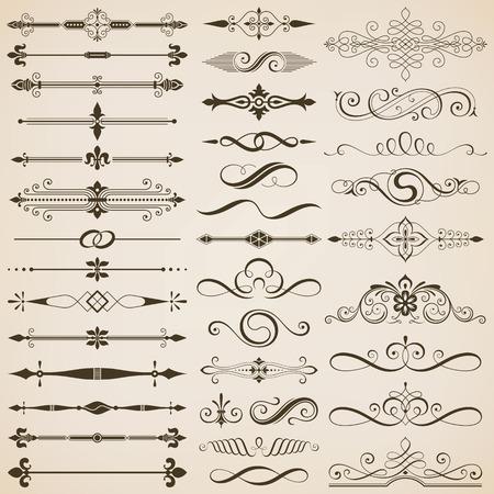 separator: Set of page divider and design elements vector illustration. Illustration
