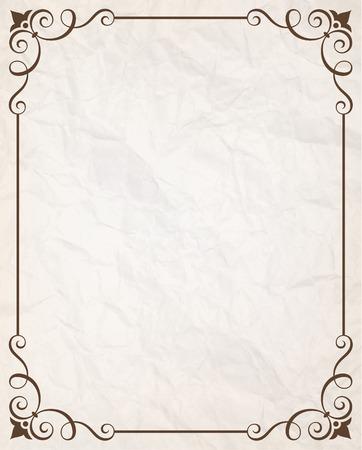 verticales: marco caligráfico sencilla con papel arrugado ilustración textura vector.